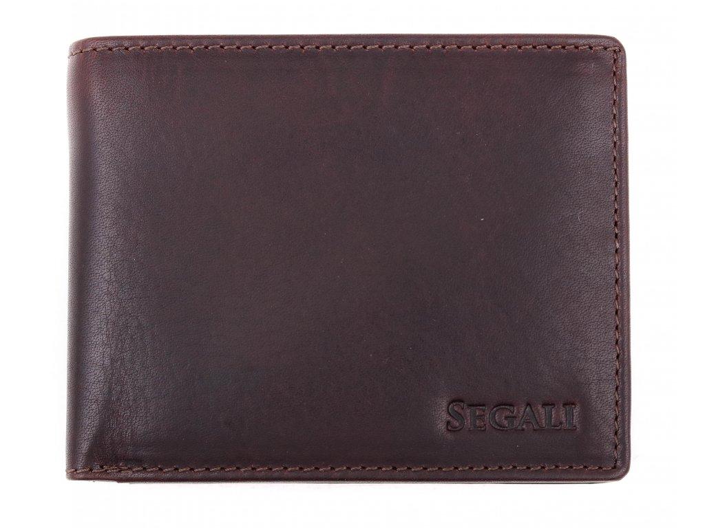Pánská kožená peněženka Segali 517.797.026 tmavě hnědá