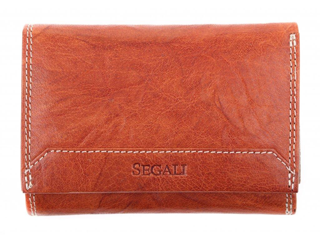 Dámská kožená peněženka Segali SG 7023Z koňakově hnědá