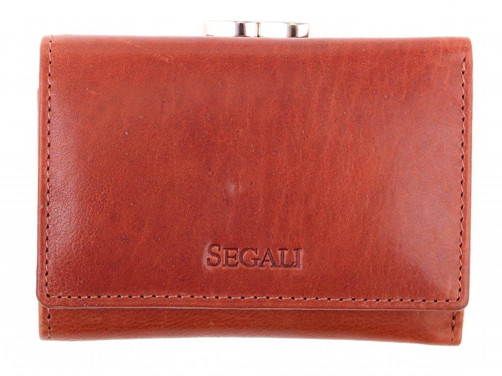 Dámská kožená peněženka Segali SG - 870 koňakově hnědá