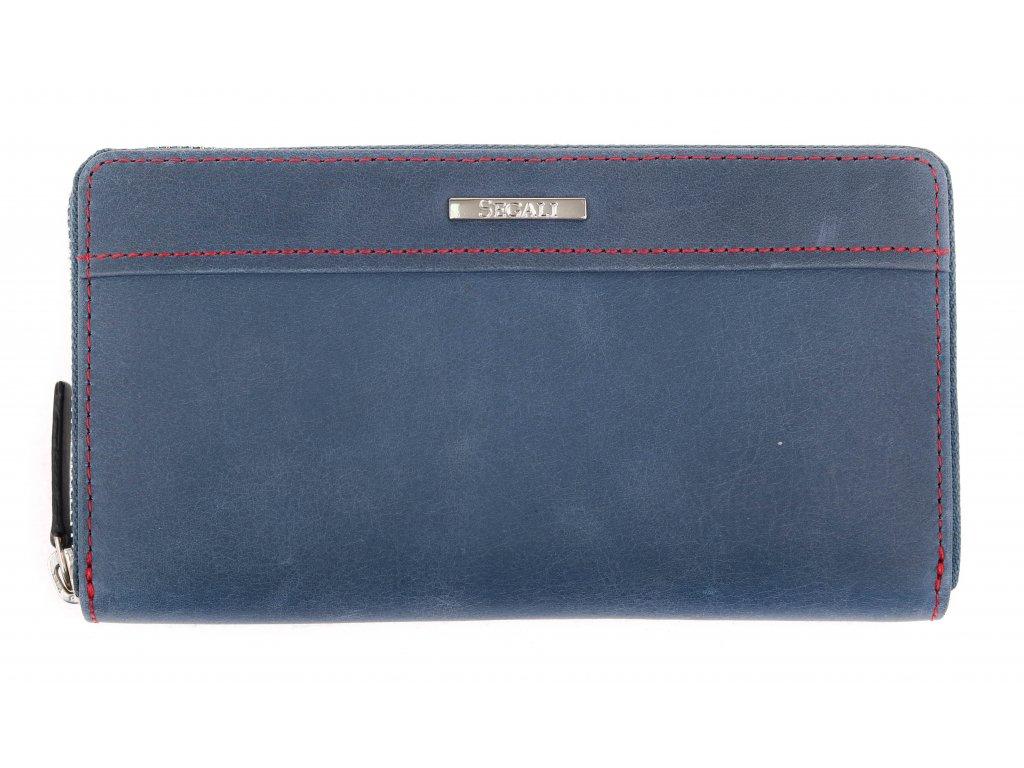 Velká kožená peněženka na zip Segali SG - 7065 tmavě modrá