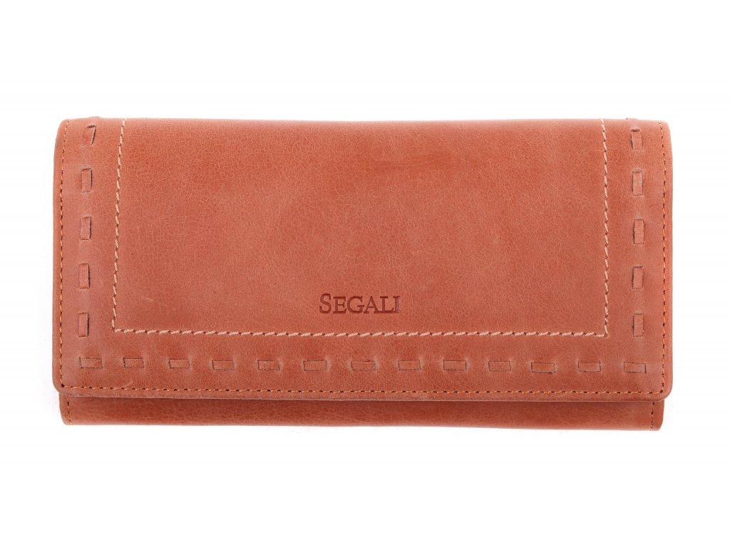 Dámská kožená peněženka Segali SG - 7052 koňaková