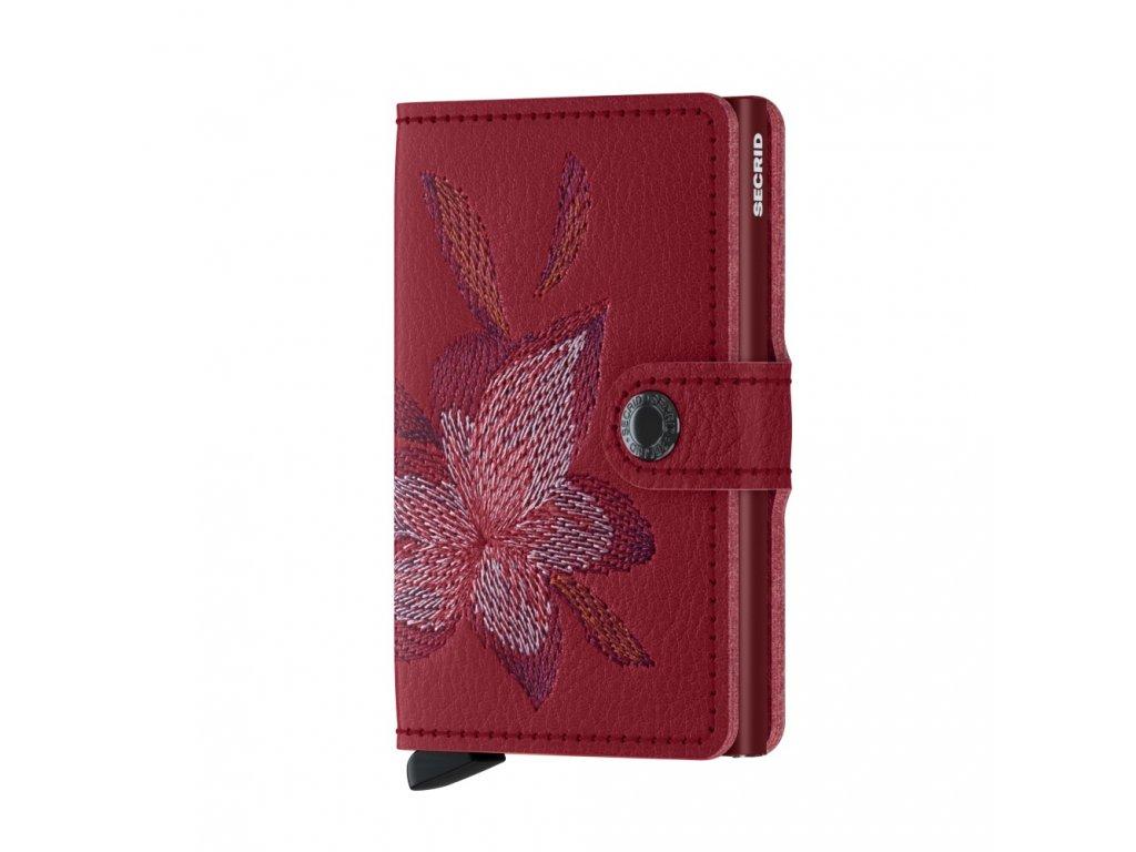 Kožená peněženka SECRID Miniwallet Stitch Linea Magnolia Rosso červená, ručně vyšívaná