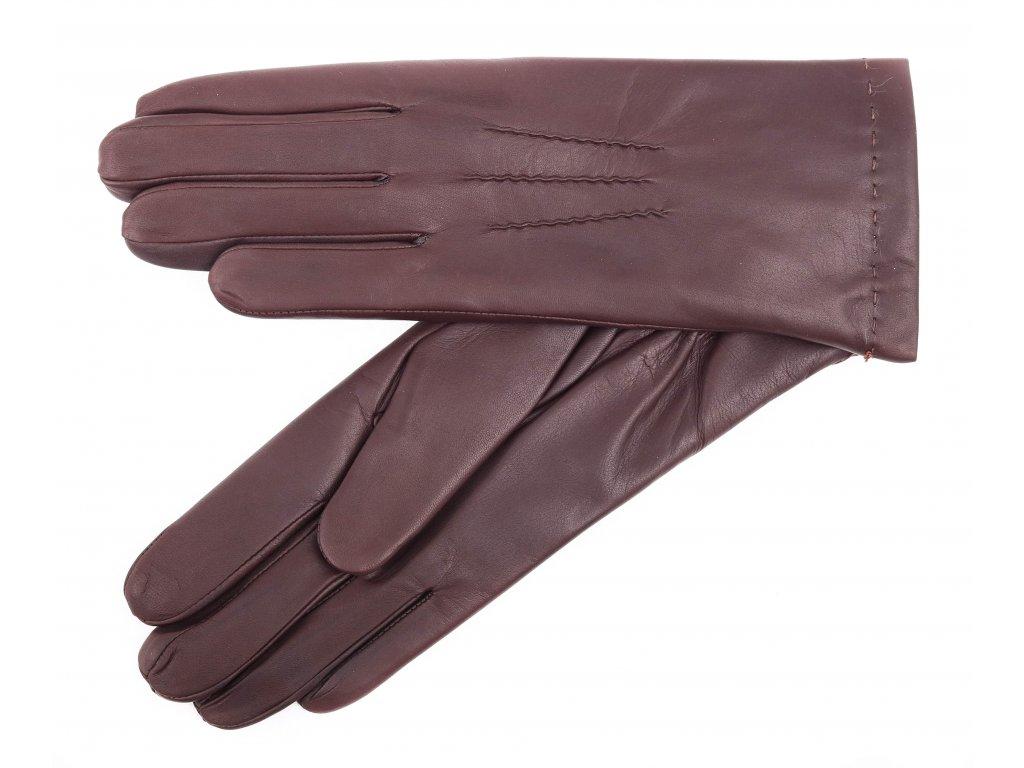 Dámské kožené rukavice zateplené kožešinou 4168 hnědé