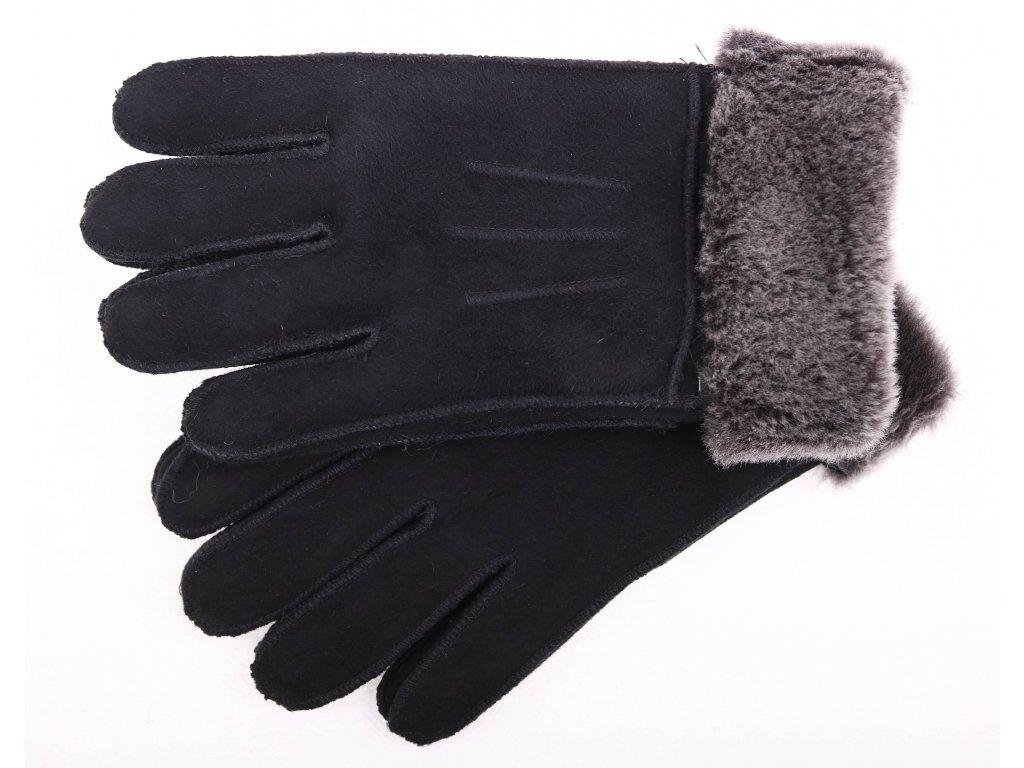 Kožešinové rukavice prstové PR79 černé velur vel. S/M melírovaný vlas kožešiny
