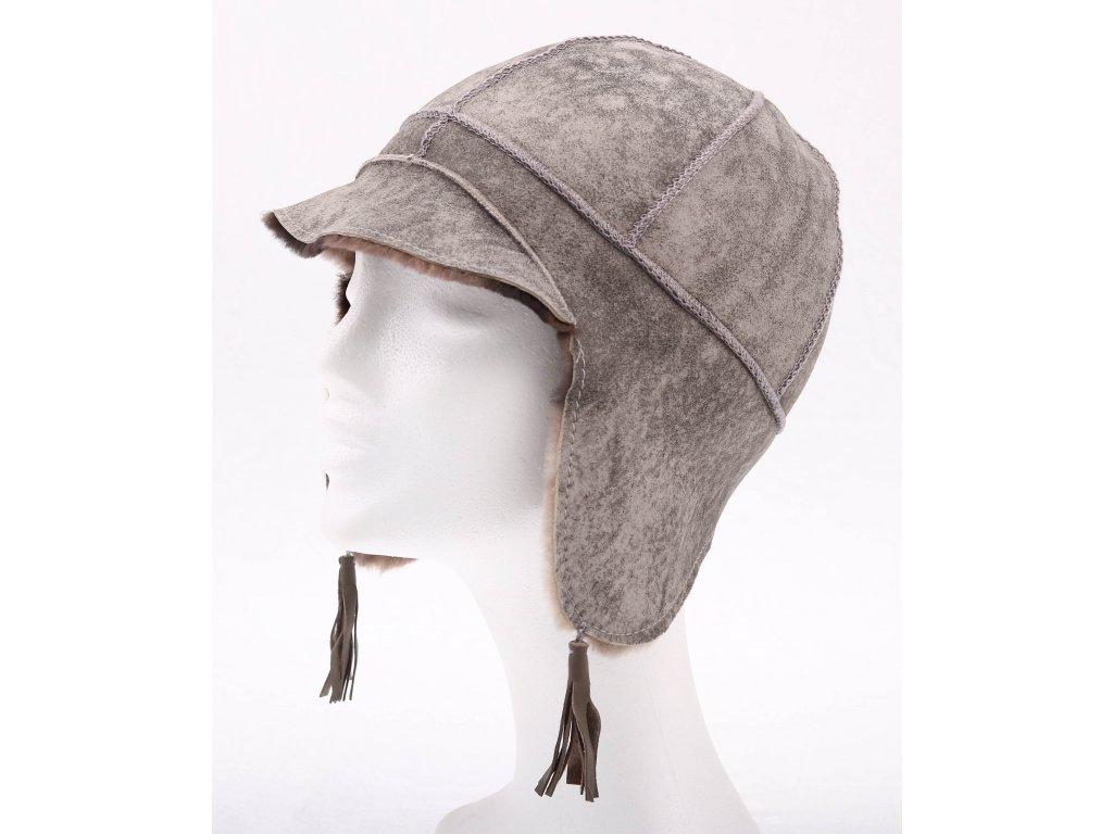 Dětská kožešinová čepice ze španělské odlehčené jehnětiny DH4 šedá Vintage