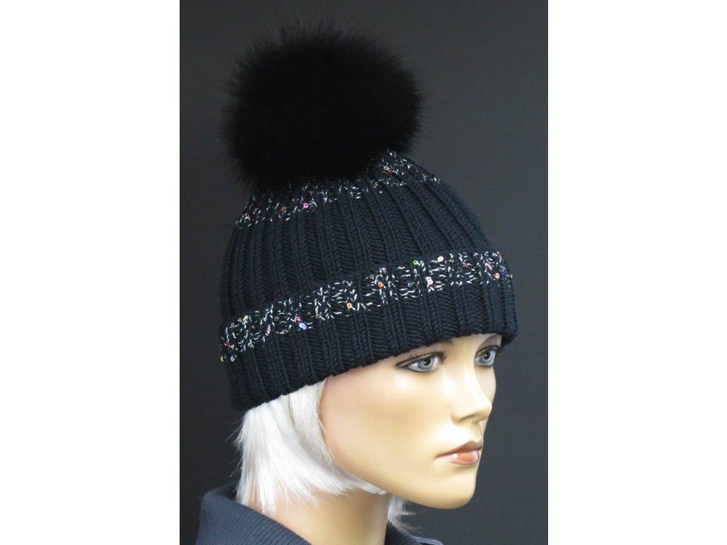 Luxusní ručně pletená čepice z merino vlny 619 černá s flitry
