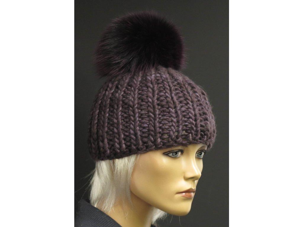 Luxusní ručně pletená čepice z merino vlny 622 černá s flitry