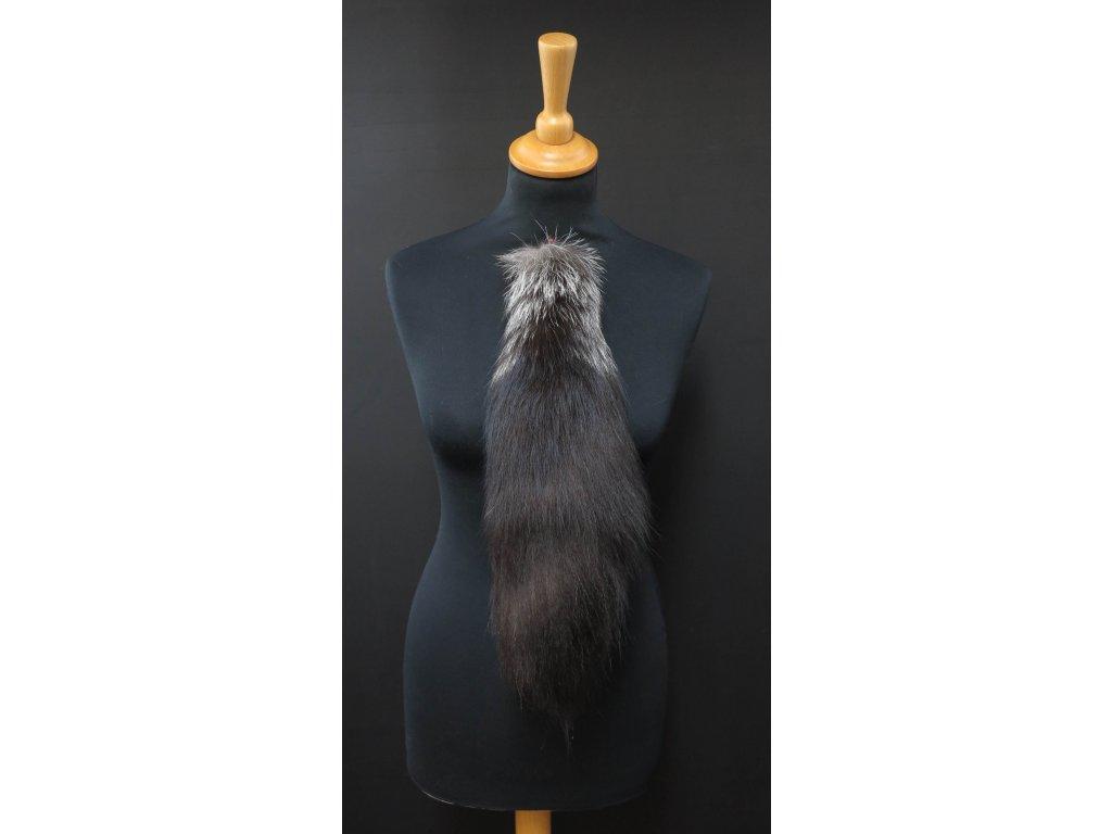 Kožešinový ohon ze stříbrné lišky č. 148 - stříbrný 43 cm