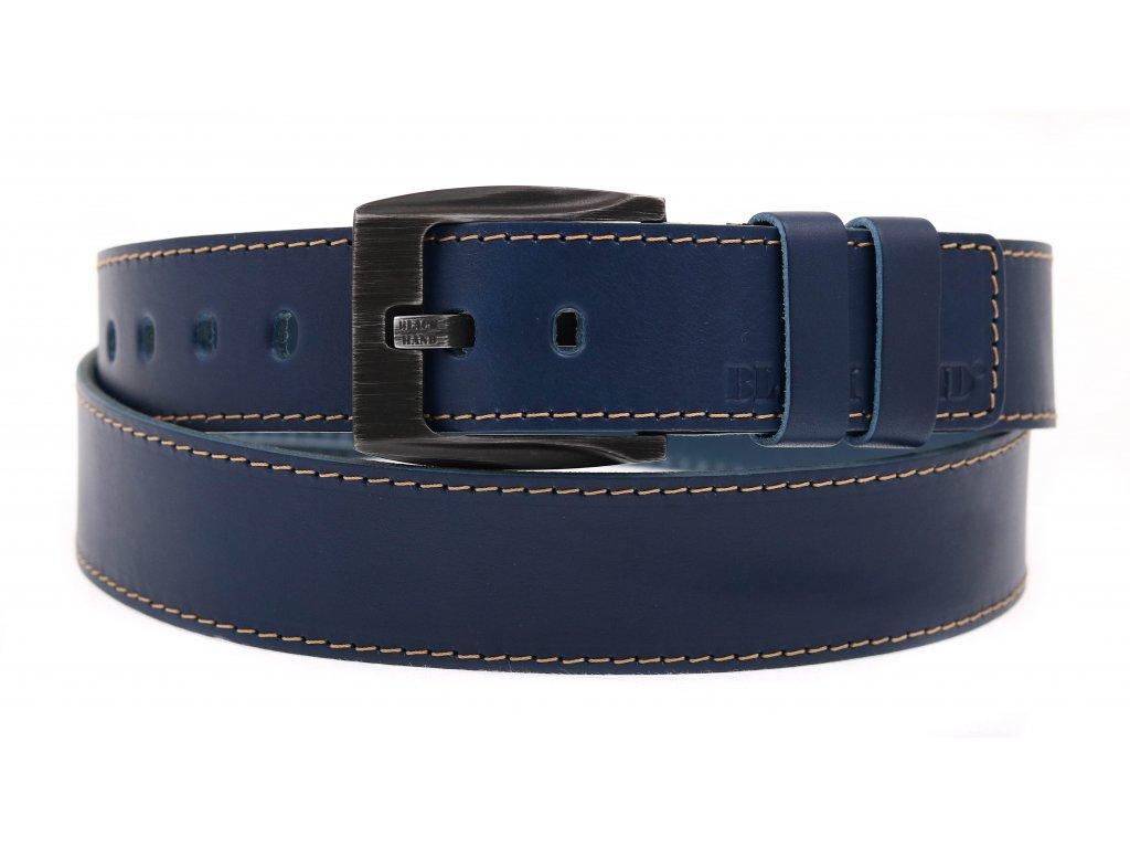 Pánský kožený opasek Black Hand 091-40 tmavě modrý + světlé štepování