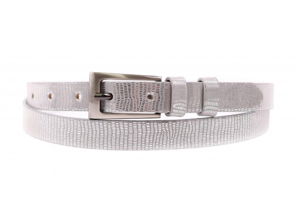 Dámský úzký kožený opasek Penny Belts 2045 stříbrný