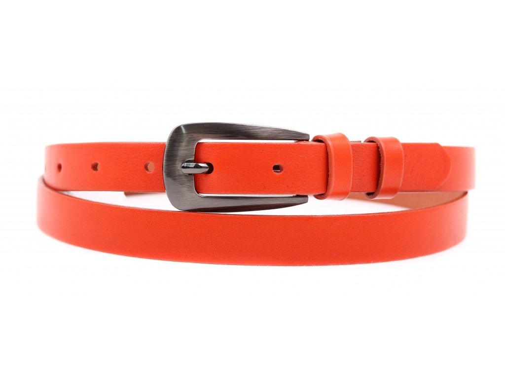Dámský úzký kožený opasek Penny Belts 2049 oranžový