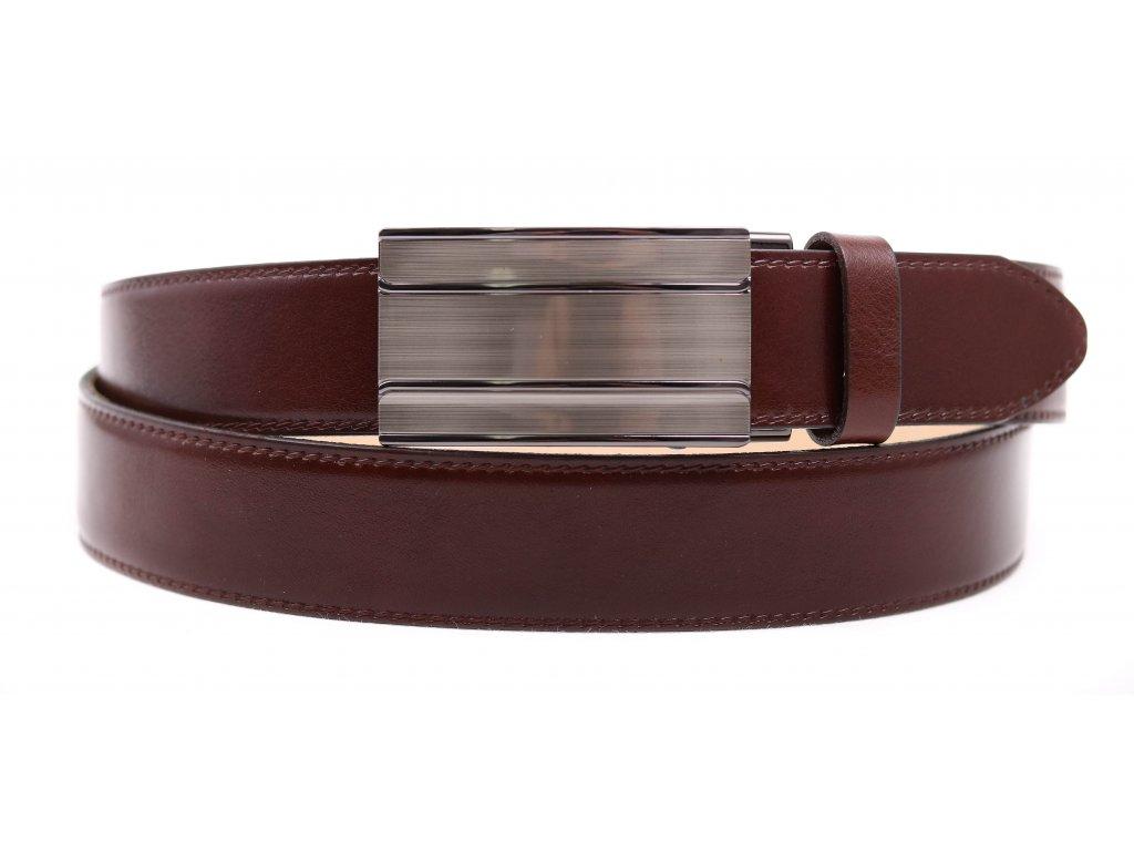 Pánský kožený opasek Penny Belts 3570 s plnou sponou AUTOMAT hnědý