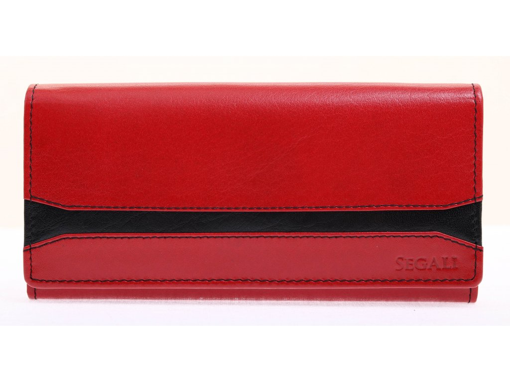 Dámská kožená peněženka Segali 2025A  červená / černá