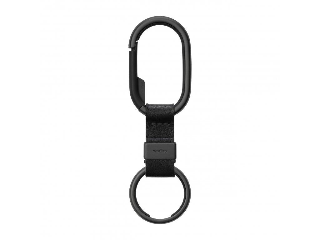 černá karabina na klíče Orbitkey All Black s koženým páskem