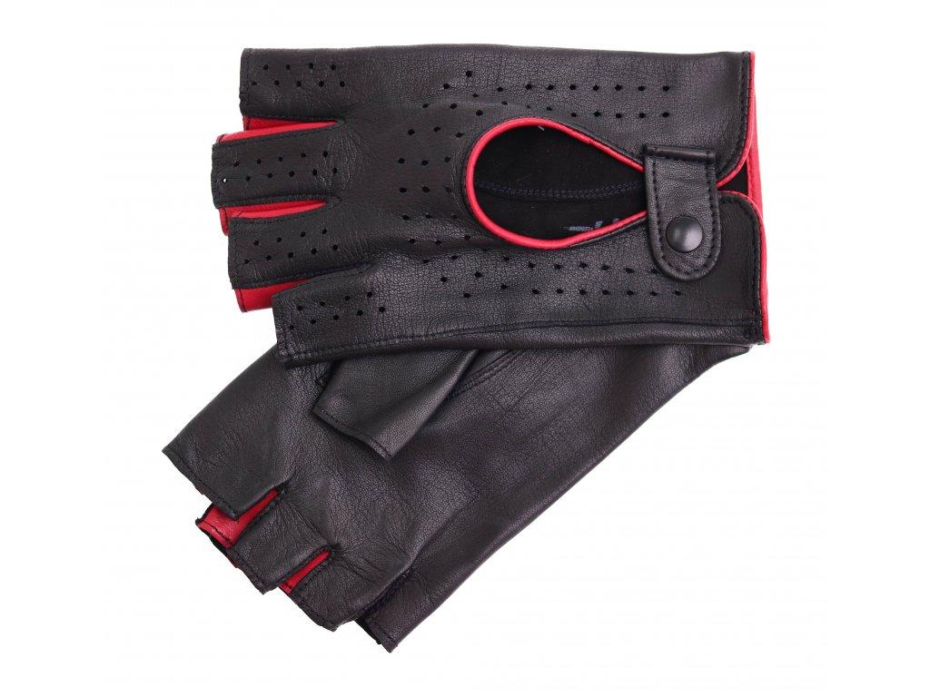 Dámské kožené řidičské rukavice 3034BP bezprstové černé s tmavě červenými detaily
