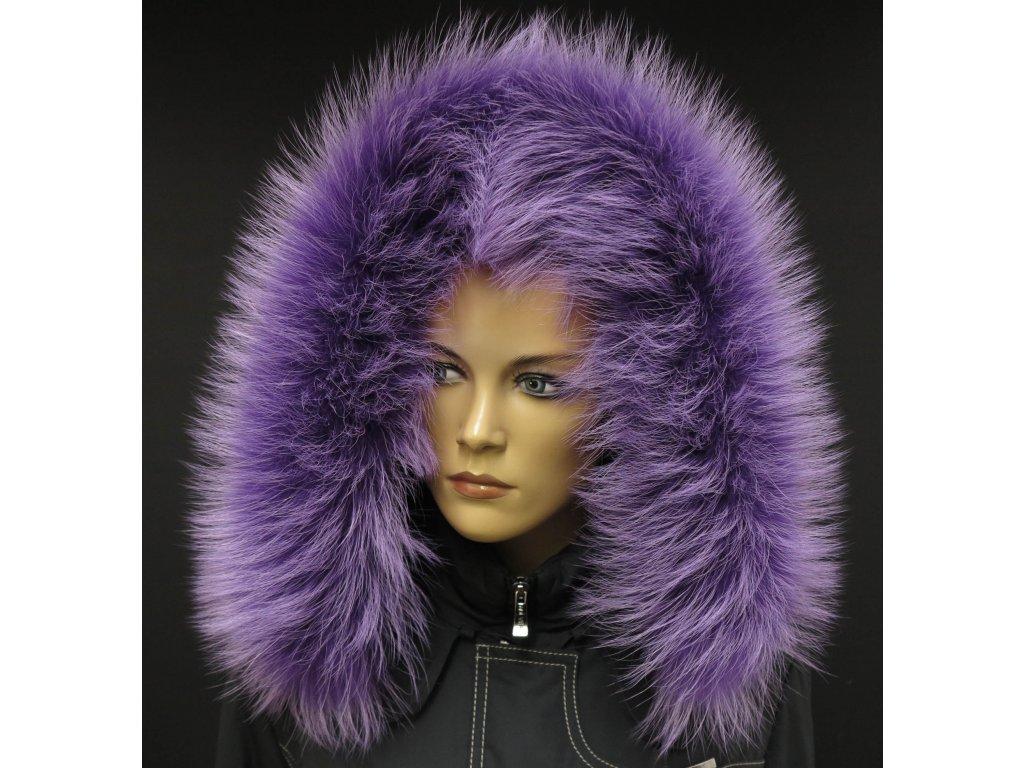 Kožešina na kapuci z finského mývalovce - 91 lila