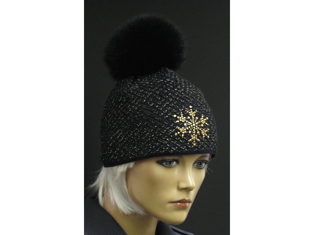 Dámská zimní pletená čepice s kožešinovou bambulí 654 černá se zlatým lurexem