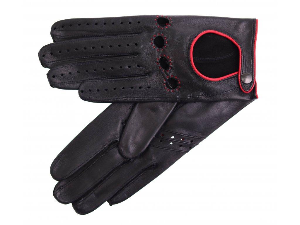 Dámské kožené řidičské rukavice 3428 černá/červená