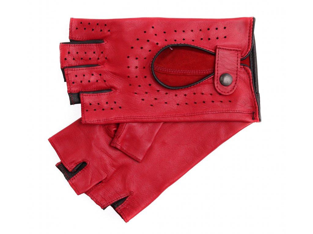 Dámské kožené řidičské rukavice 3034BP bezprstové červená s černou šichtlí