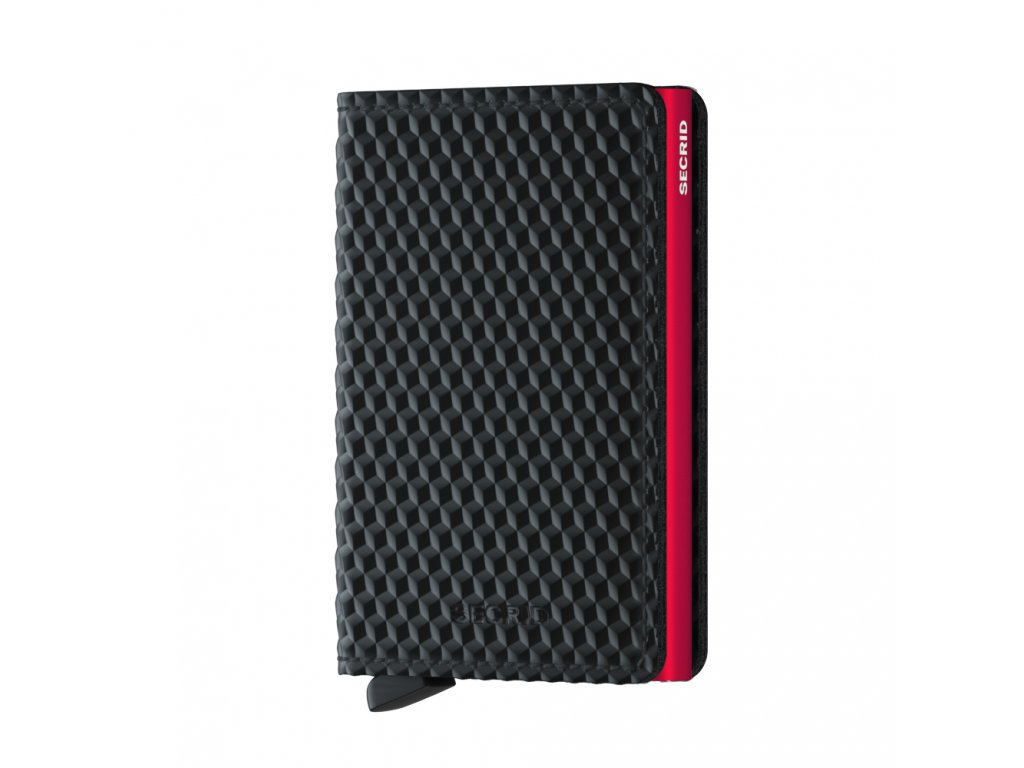 Kožená peněženka na karty SECRID Slimwallet Cubic Black Red černá s červeným pouzdrem