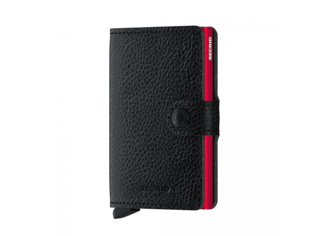 Kožená peněženka na karty SECRID Mini Winner 20 černá s červeným pouzdremSecrid Miniwallet Veg Black Red Front