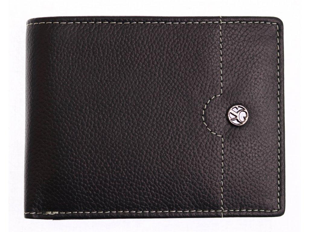 Pánská kožená peněženka Segali 755.139.2007 černá + koňakově hnědý vnitřek