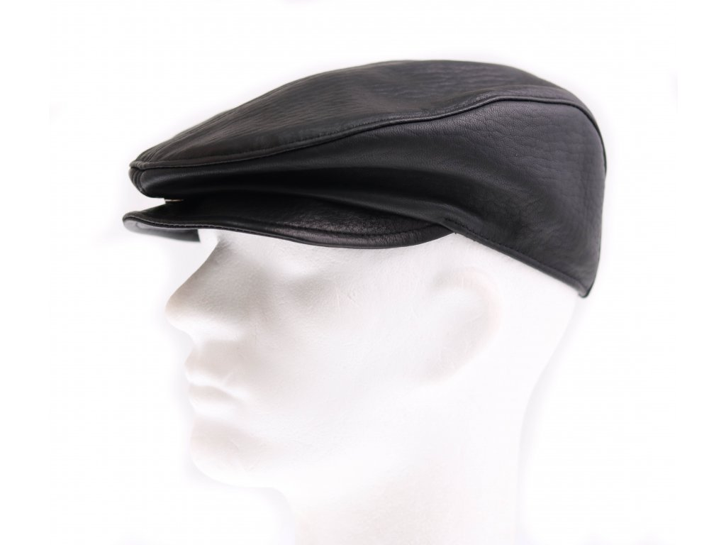 Pánská kožená čepice s kšiltem - bekovka BE16 černá hladká teletina