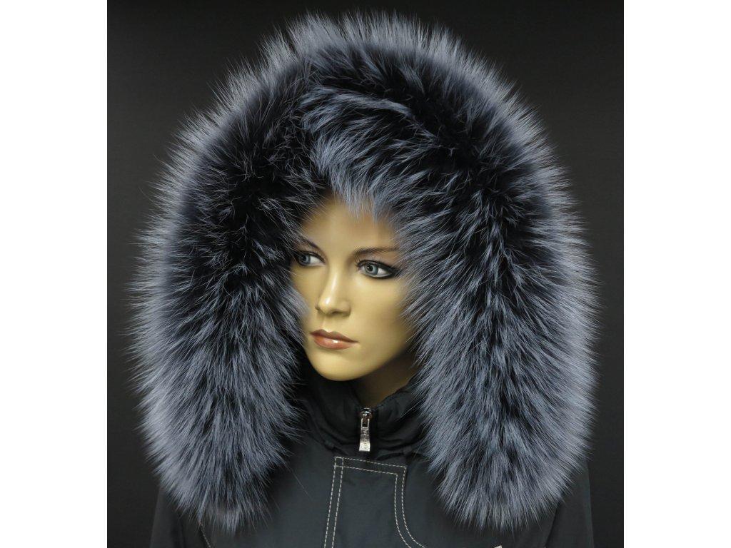 Kožešina na kapuci z finského mývalovce - 9021 tmavě šedá + melír