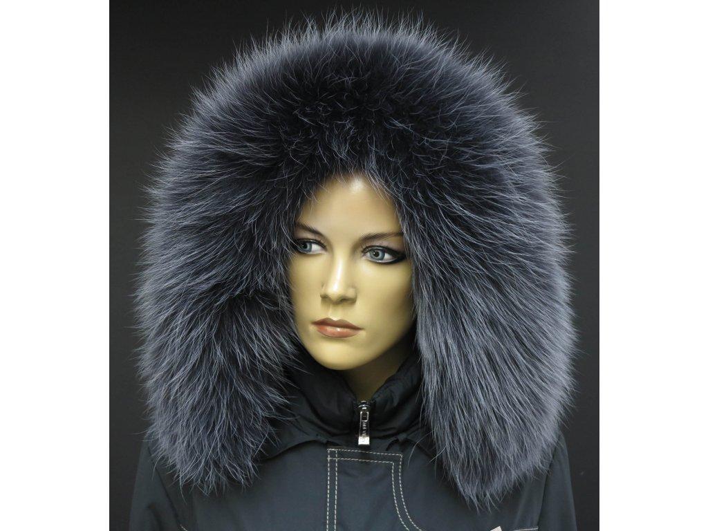 Kožešina na kapuci z finského mývalovce - 9023 tmavě šedá + melír