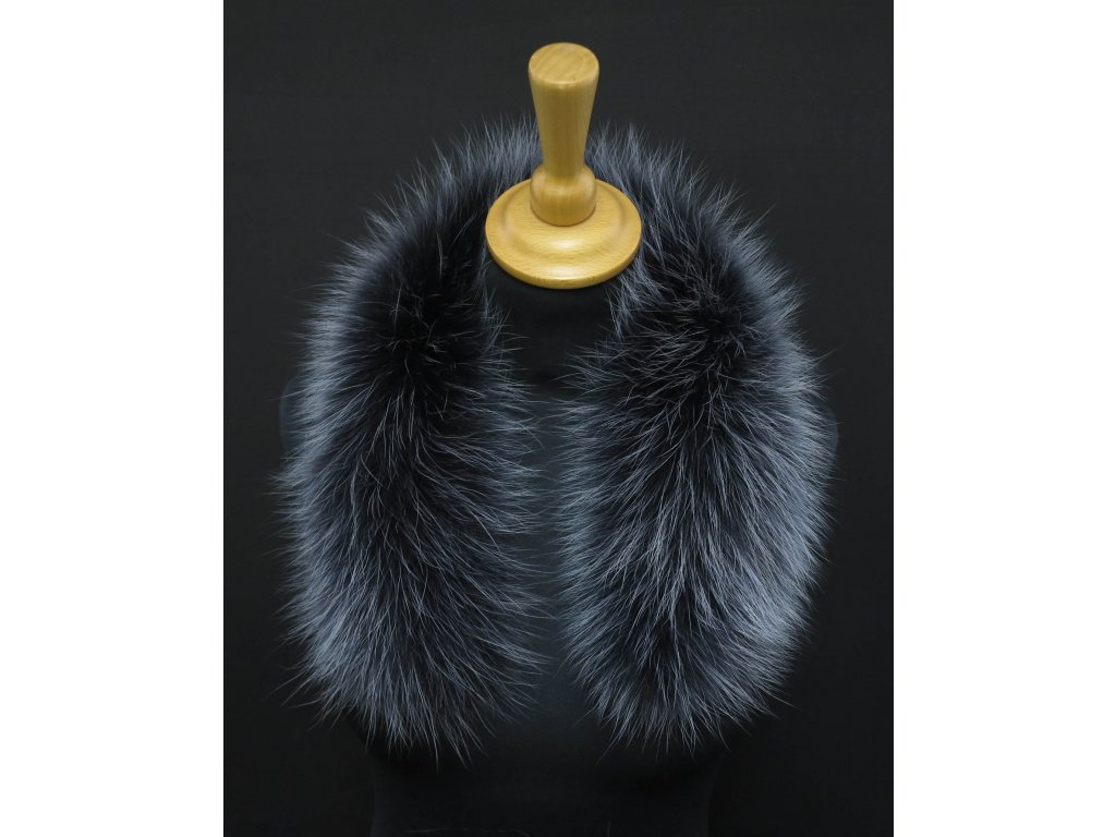 Kožešina na kapuci z finského mývalovce - 9025 tmavě šedá + melír KRÁTKÝ 60 CM 2. JAKOST