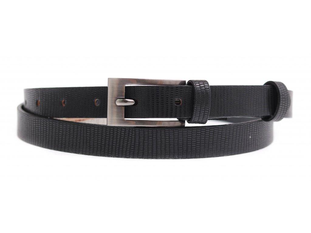 Dámský úzký kožený opasek Penny Belts 2052 černý tištěný