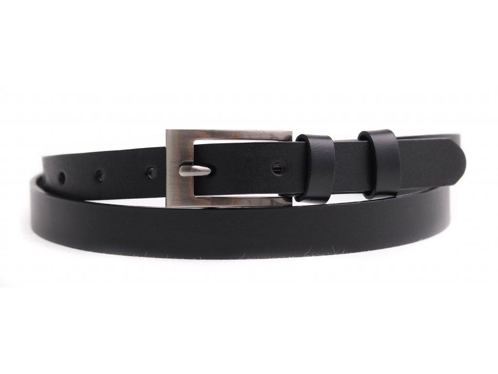 Dámský úzký kožený opasek Penny Belts 2053 černý