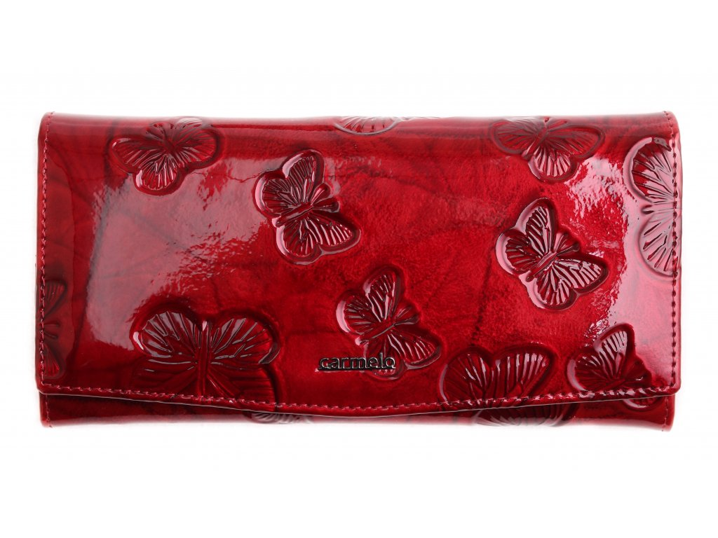 Velká dámská kožená peněženka Carmelo 2109 M Red