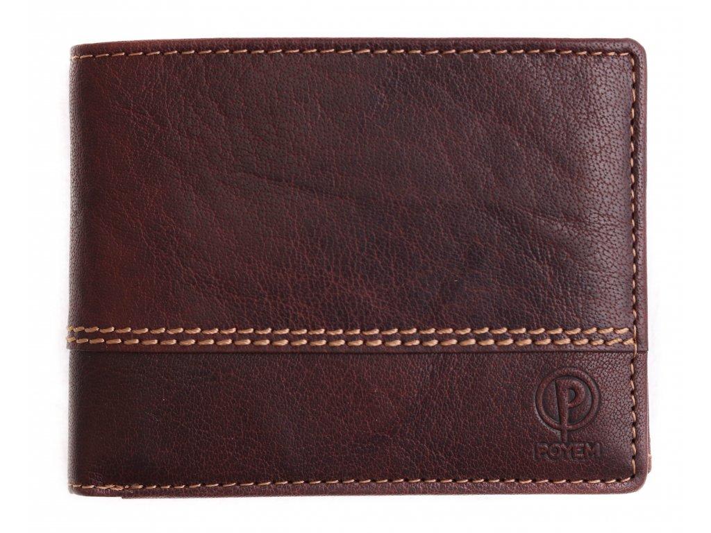 Pánská kožená peněženka Poyem 5222 tmavě hnědá