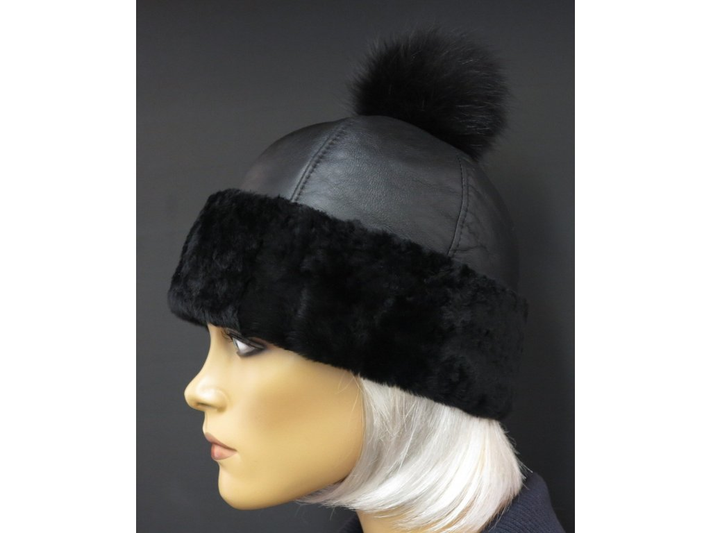 kožešinová čepice z ovčiny černá
