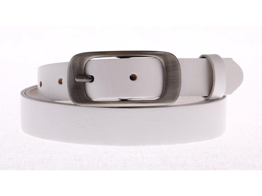 Dámský úzký kožený opasek Penny Belts 25-173-00 bílý
