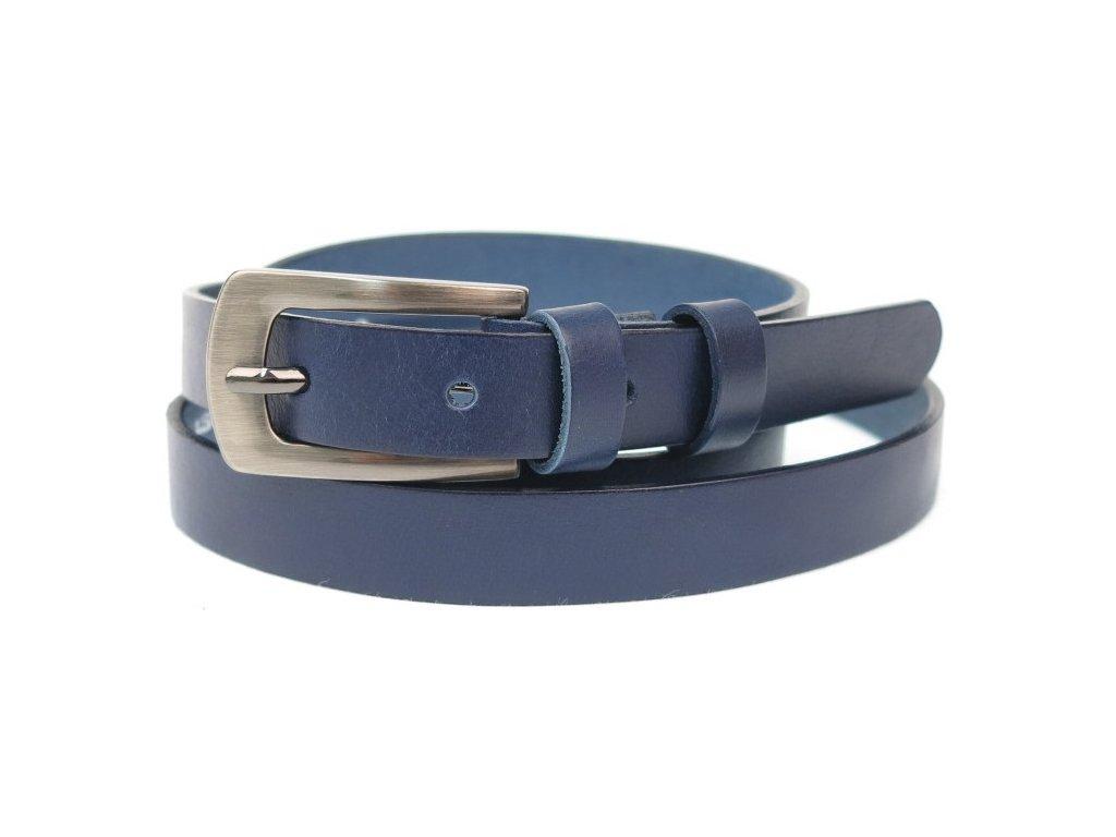 Dámský úzký kožený opasek Penny Belts 20-181-56 modrý