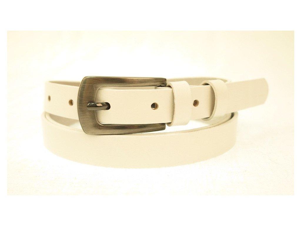 Dámský úzký kožený opasek Penny Belts 20-181-00 bílý