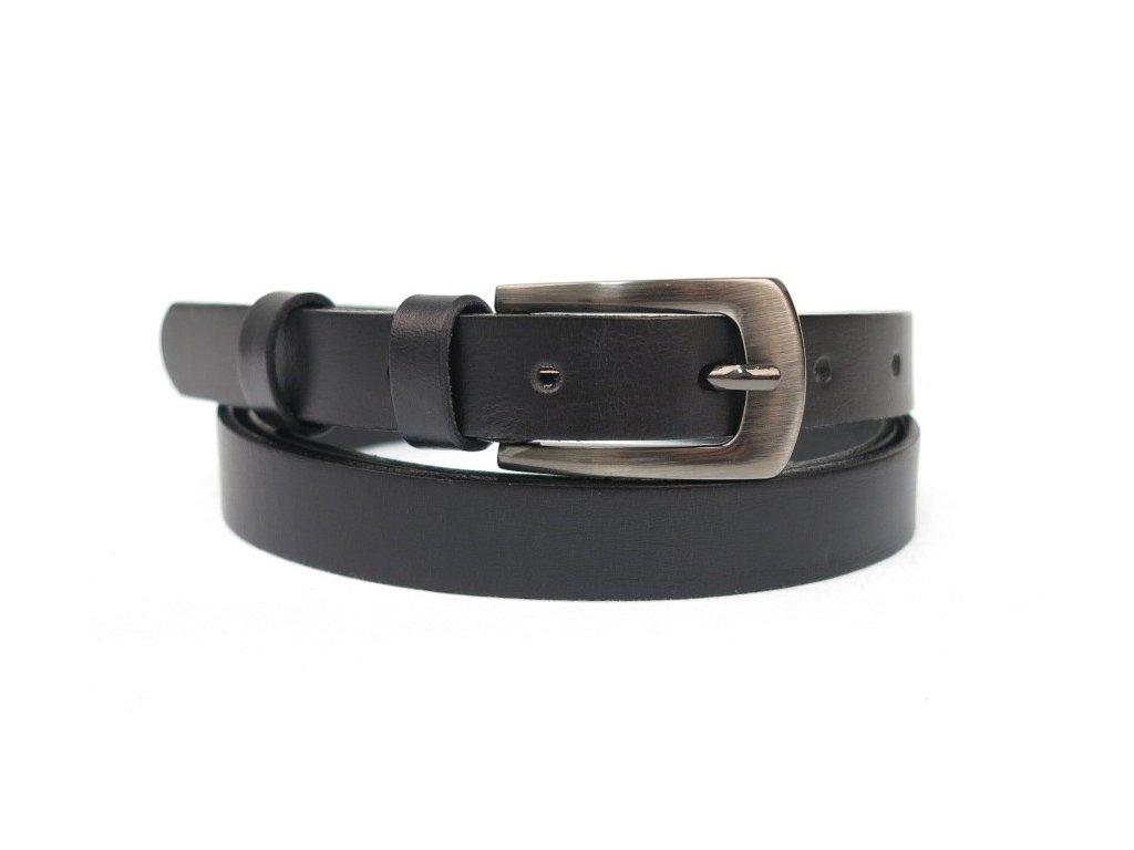 Dámský úzký kožený opasek Penny Belts 20-181-50 černý