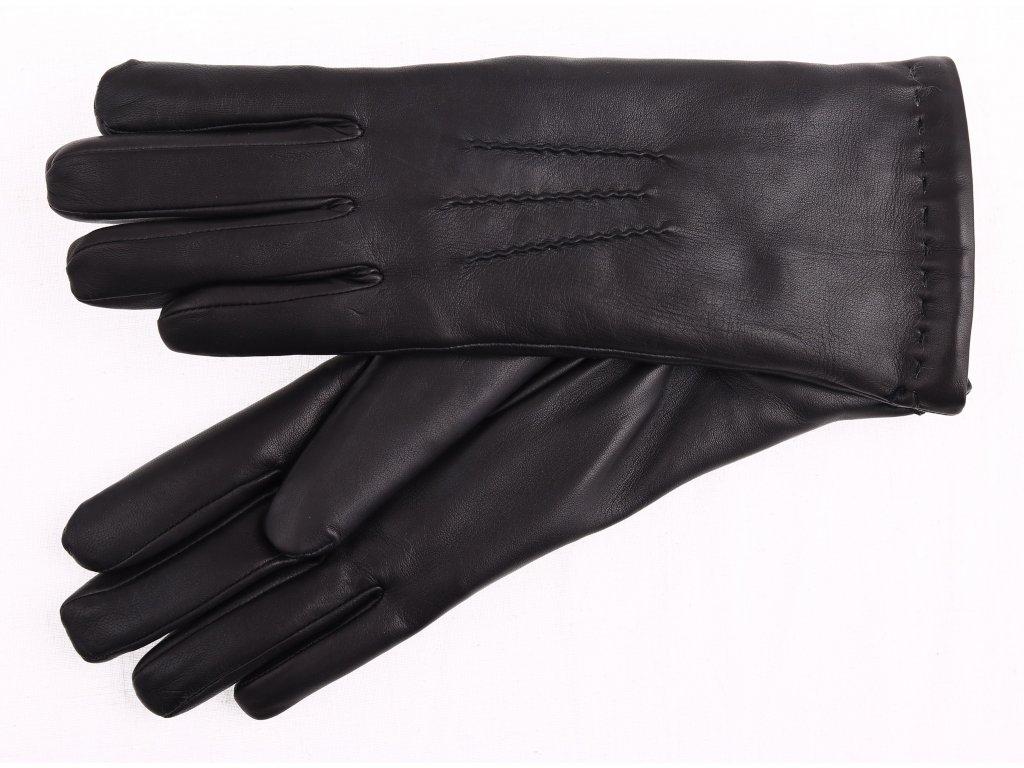 Dámské kožené rukavice zateplené kožešinou 4168 černé