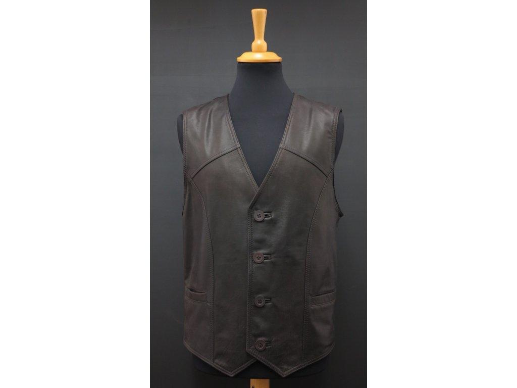 Pánská kožená vesta z broušené teletiny F18 černohnědá