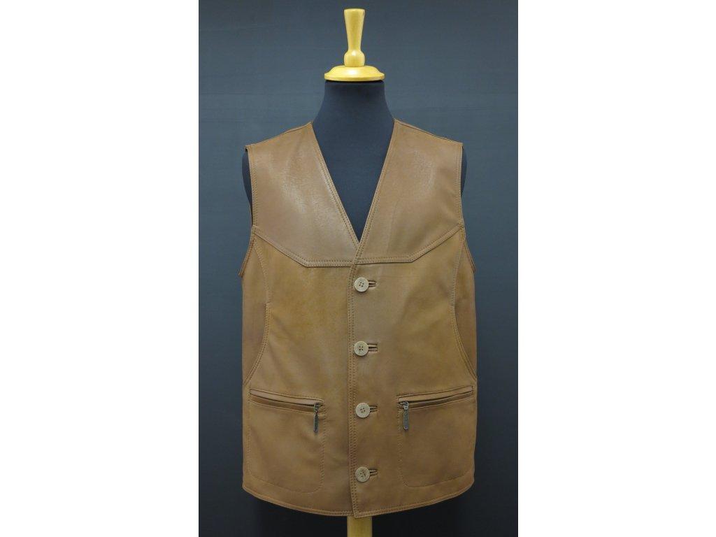 Pánská kožená vesta z broušené jehnětiny F19 koňakově hnědá