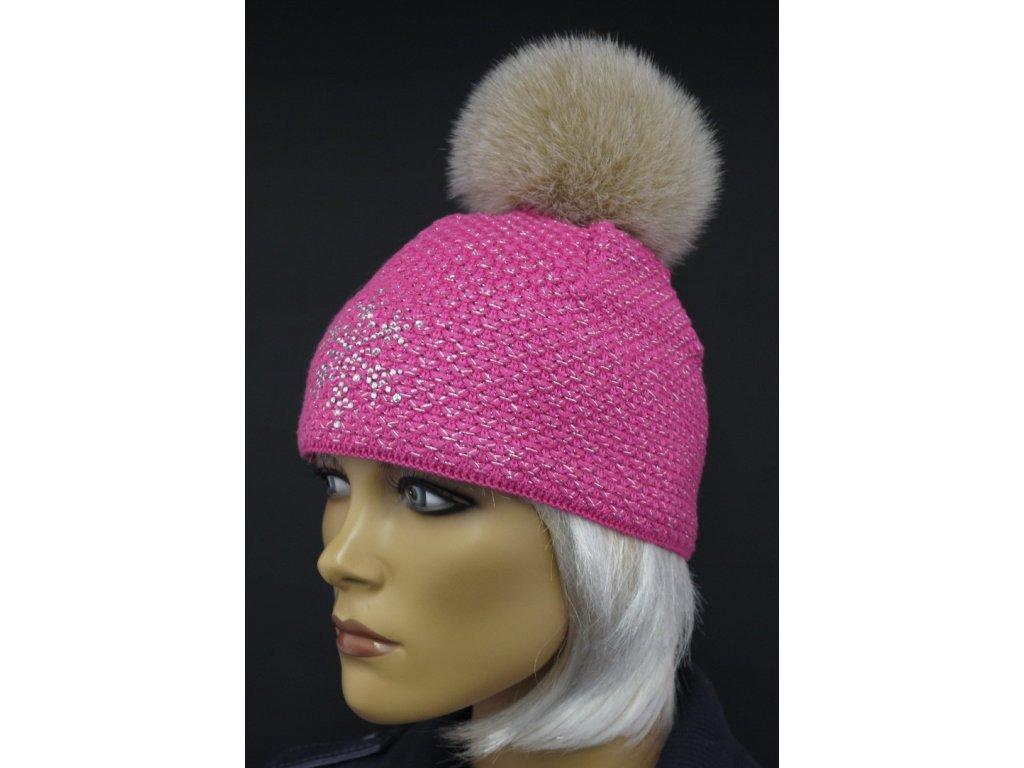 Zimní růžová čepice s bambulí z pravé kožešiny 0535 - Špongr.cz 20046748a6