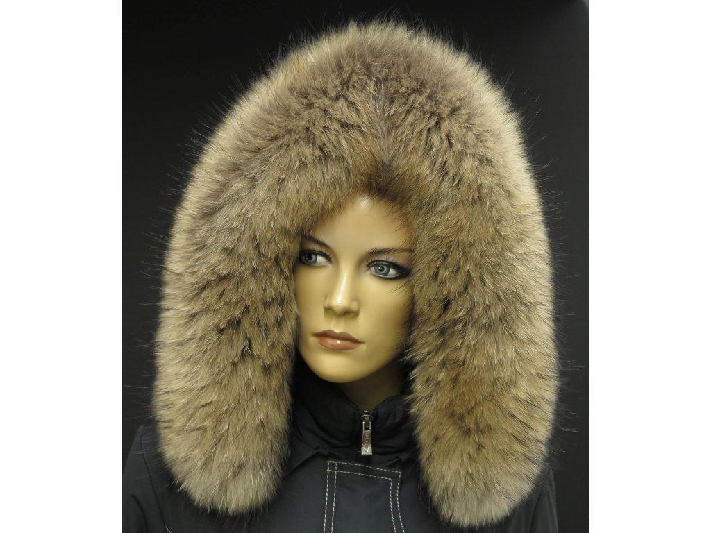 Kožešina na kapuci z finského mývalovce 3033 NATUR