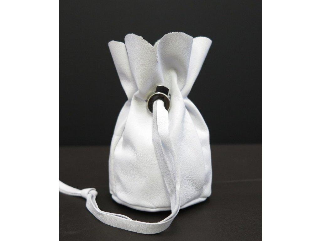 malý bílý kožený měšec Navigator dárek ke svatbě