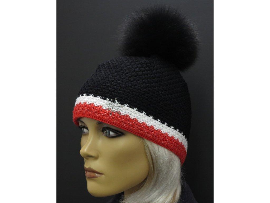 Zimní pletená čepice s kožešinovou bambulí R-Jet 0519 černá červená bíláčepice s kožešinovou bambulí