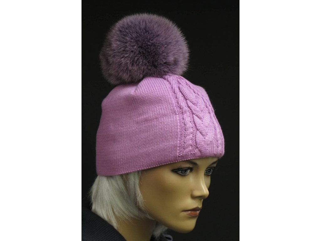 Zimní pletená čepice s kožešinovou bambulí R-Jet 0514 světle růžová