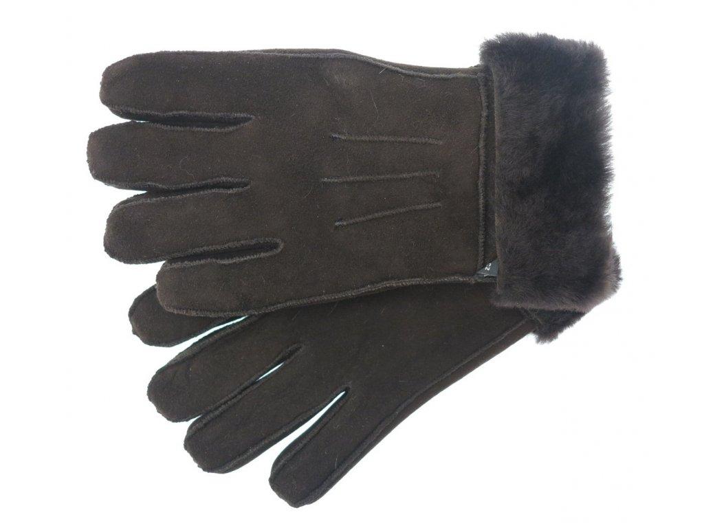 dámské kožešinové rukavice z ovčí kožešiny tmavě hnědé