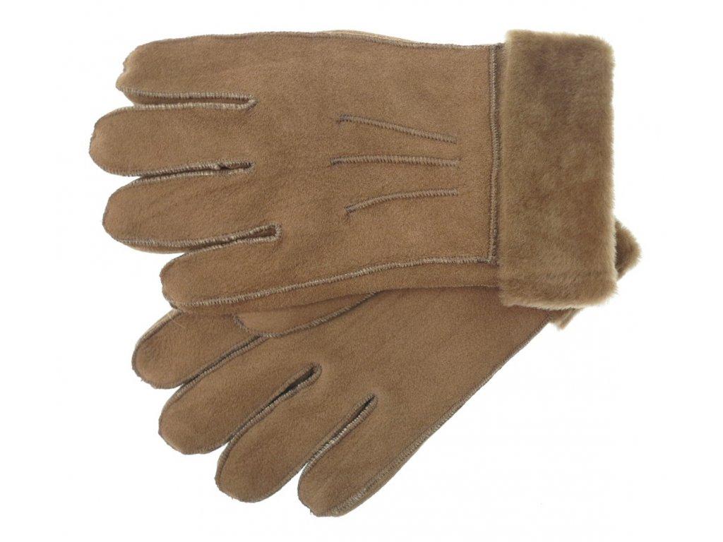 Kožešinové rukavice prstové z ovčiny světle hnědé