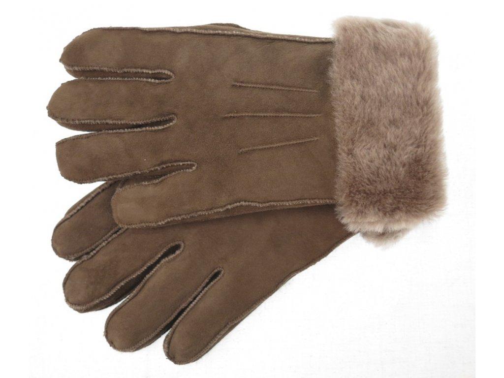 Kožešinové rukavice prstové světle hnědé